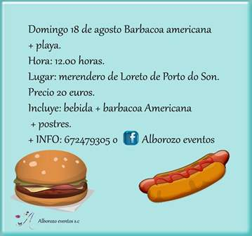 EVENTO: BARBACOA AMERICANA Y PLAYA