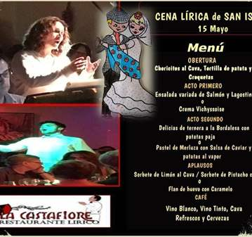 CENA LÍRICA DE SAN ISIDRO EN LA CASTAFIORE(+45AÑOS