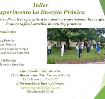 TALLER: CONOCE Y EXPERIMENTA ALA ENERGÍA PRÁNICA