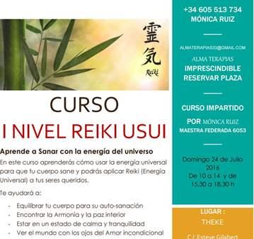 CURSO DE REIKI USUI NIVEL I EN THEKE GRANOLLERS