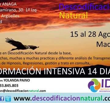 CURSO: DESCODIFICACION NATURAL INTENSIVO VERANO