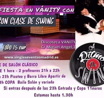 FIESTA CON CLASE DE SWING +PICOTEO+B LIBRE+COPA
