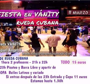 FIESTA CLASE RUEDA CUBANA+PICOTEO+B LIBRE+COPA=15€