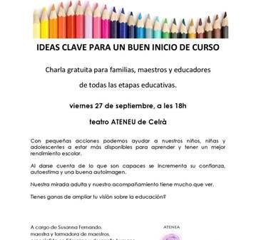 CHARLA: IDEAS CLAVE PARA UN BUEN INICIO DE CURSO