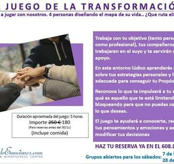 JORNADA: JUEGO DE LA TRANSFORMACIÓN (PREVIA CON...