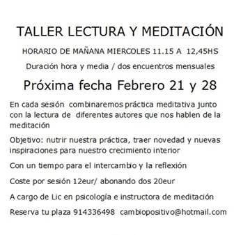 TALLER: LECTURA Y MEDITACIÓN