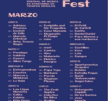 CUARENTENA FEST: CONCIERTOS ONLINE 16/03-27/03