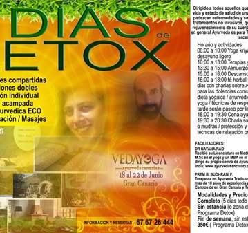 JORNADA: RETIRO DETOX PANCHAKARMA EN GRAN CANARIA