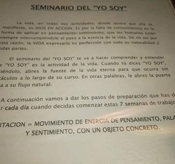SEMINARIO DEL «YO SOY»