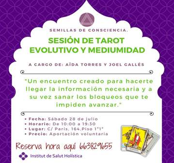 TALLER: SESIÓN DE TAROT EVOLUTIVO Y MEDIUMIDAD