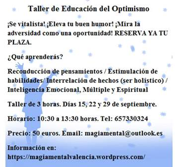 TALLER DE EDUCACIÓN DEL OPTIMISMO