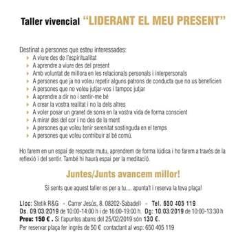 TALLER VIVENCIAL LIDERANT EL MEU PRESENT 9-10 MARÇ