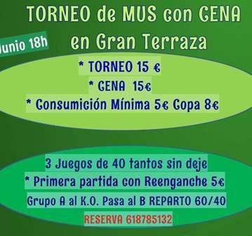 QUEDADA: TORNEO MUS Y CENA EN GRAN TERRAZA APUN...