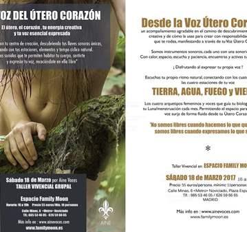 TALLER: VOZ DEL ÚTERO CORAZÓN Y MEDICINA SONORA