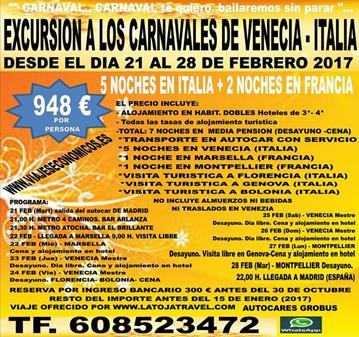 TOUR: CARNAVALES DE VENECIA 2017- ITALIA