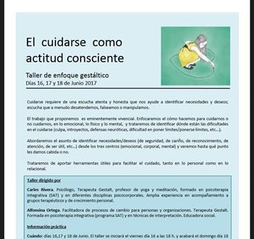 TALLER: EL CUIDARSE COMO ACTITUD CONSCIENTE
