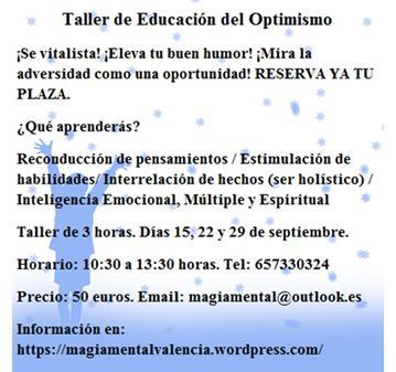 TALLER DE EDUCACIÓN DEL OPTIMISMO