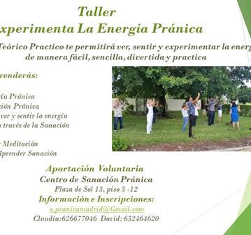 TALLER: VER, CONOCER Y EXPERIMENTAR LA ENERGÍA PRÁNICA