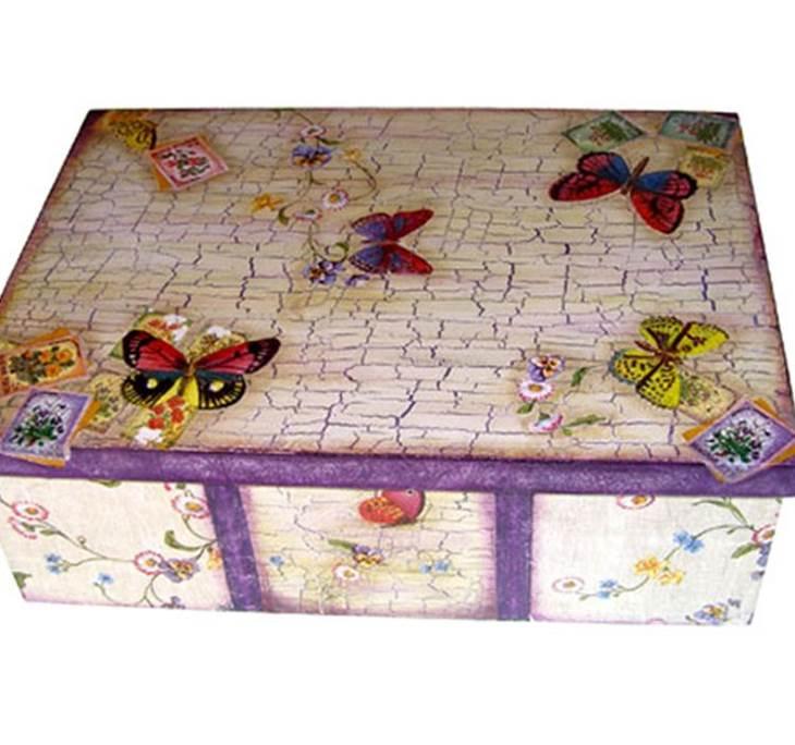 Caja con decoupage y craquelado aprender manualidades es - Manualidades sobre madera ...