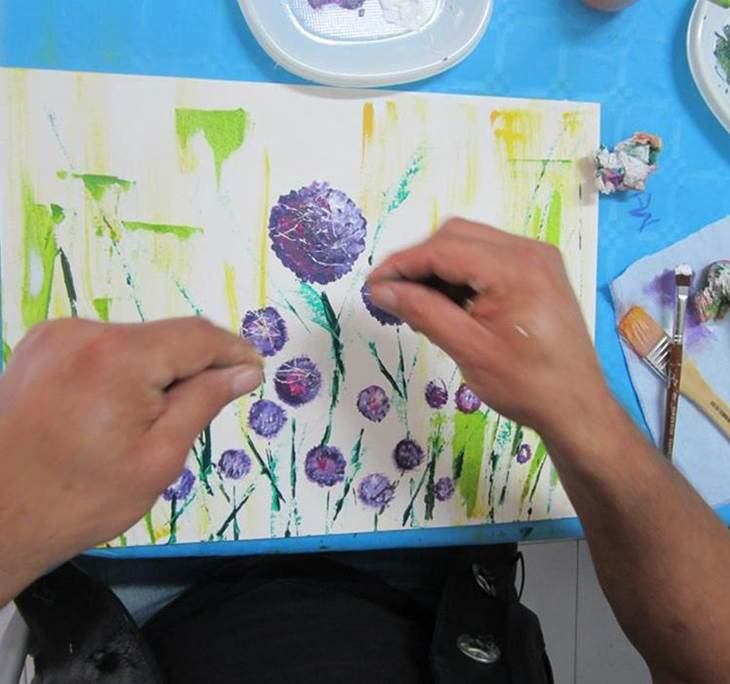 Cuadro r pido con acr licos y tarjeta de cr dito uolala - Pintura acrilica manualidades ...